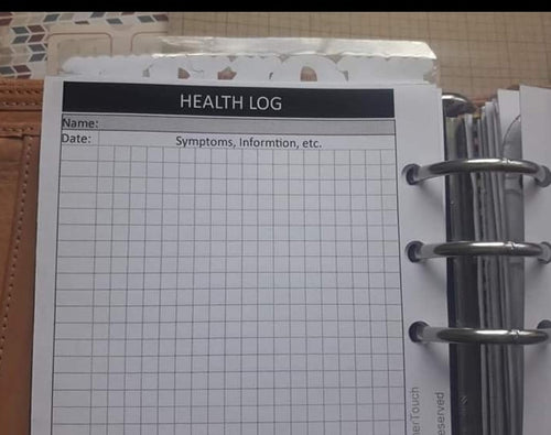1513 Health Log in Grid for both rings and TNs(except for A5 if you print on Letter size paper, then it's for rings only)