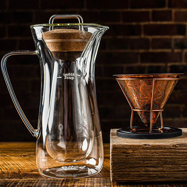 Double-Walled Glass Coffee Carafe and Pour-Over Filter Combination Gift Set