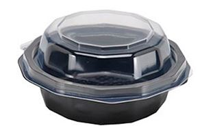 Plastic Bowl w/Attached Lid, Hold 17oz - 25ct