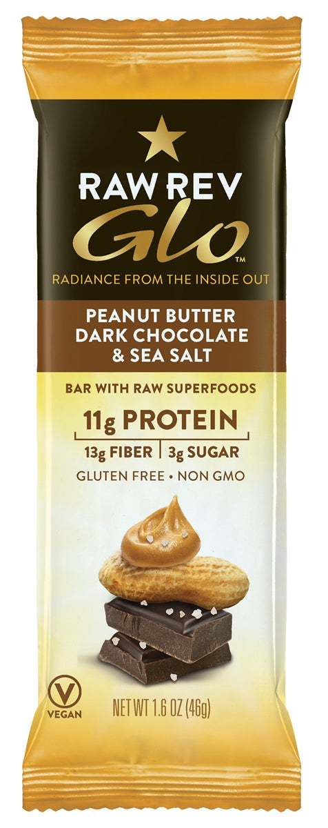 Peanut Butter, Dark Chocolate & Sea Salt - Raw Revolution Glo Bars - 12ct