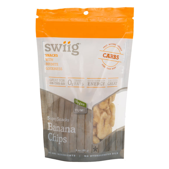 swiig Super Snacks - Banana Chips 3oz bags- 6/case