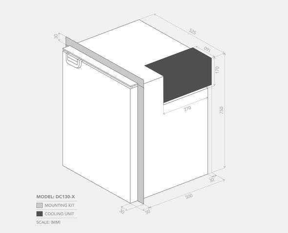 Dimensions of 12V Bushman Upright Fridge