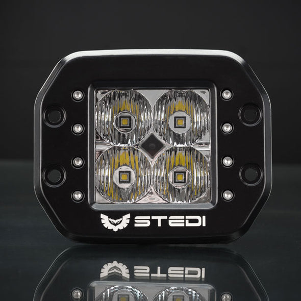 Stedi C-4 BLACK EDITION FLUSH MOUNT LED LIGHT | FLOOD Front View