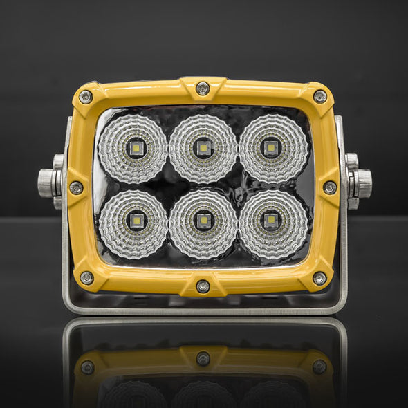 Shock 6 Mining Spec LED Flood Light | Yellow STEDI Front View