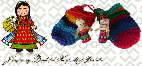 worry dolls in a pouch hand made