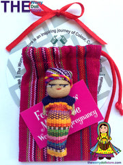 Worry Dolls Mum To Be 5cm in Handwoven Pouch handmade in guatemala