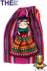 Worry Doll Girl 8cm in handwoven pouch