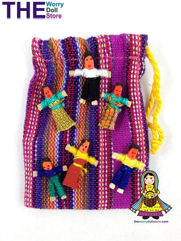 guatemalan mini worry dolls in pouch