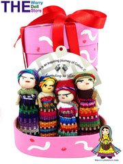 Worry Dolls for Girls in Hand Painted Pink Box