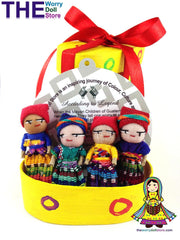 Worry Dolls in Hand Painted Yellow Box