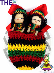 Rasta Worry Dolls in Knit Pouch