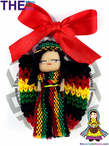 Rasta Worry Doll Boy in Knit Pouch