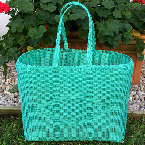 Large Aqua Traditional Basket Woven in Guatemala