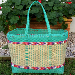 Large Aqua and Natural Traditional Basket Woven in Guatemala