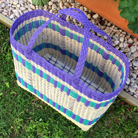 Large Purple and Aqua Traditional Basket Woven in Guatemala