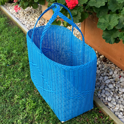 Large Blue Traditional Basket Woven in Guatemala