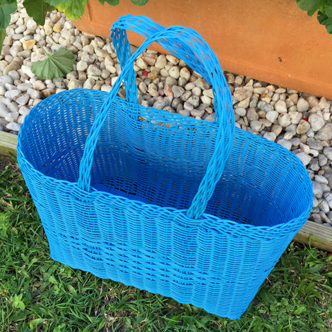 Small Blue Plastic Basket Woven by Guatemalan Artisans