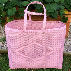 Large Pastel Pink Traditional Basket Woven in Guatemala
