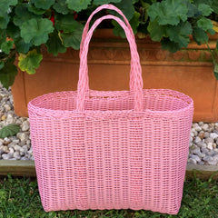Small Baby Pink Plastic Basket Woven by Guatemalan Artisans