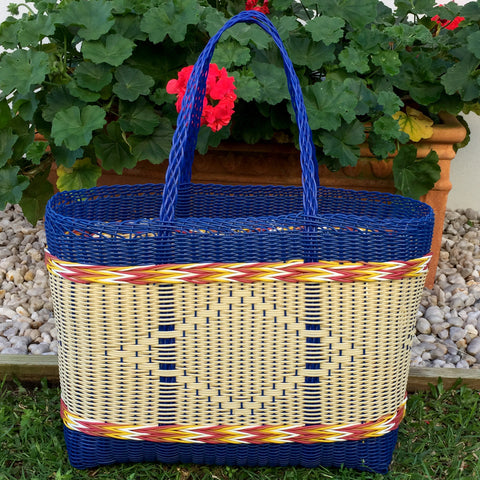 Guatemalan Shopping and Market Basket Extra Large Blue and Natural