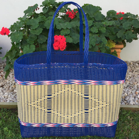 Blue and Natural Jumbo Market Basket Woven in Guatemala