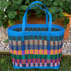 Large Bright Blue Multicolored Woven Basket