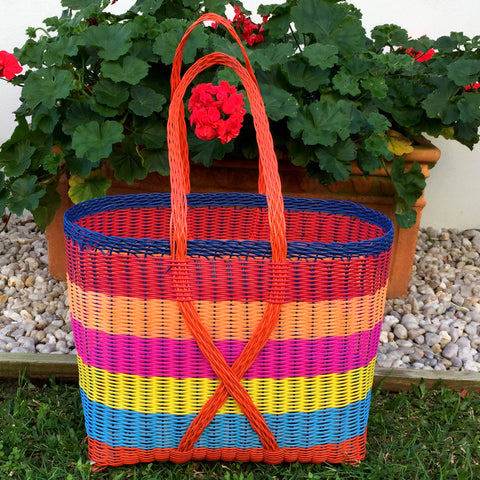 Guatemalan Shopping and Market Basket in Handwoven Bright Colours