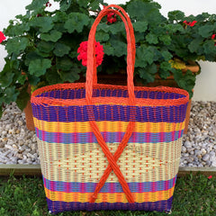 Guatemalan Shopping and Market Basket Handwoven Bright and Natural Extra Large