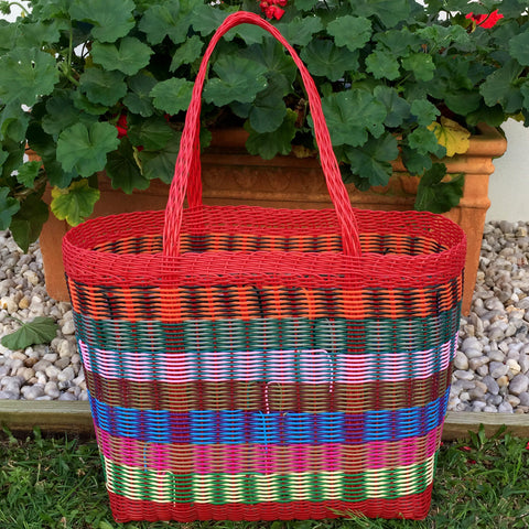 Large Red and Multicolored Basket Woven in Guatemala