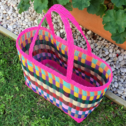 Large Bright Pink Multicolored Basket Woven in Guatemala