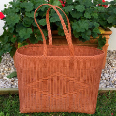 Large Brown Traditional Basket Woven in Guatemala