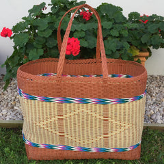 Tan and Natural Jumbo Market Basket Woven in Guatemala