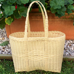 Small Cream Plastic Basket Woven by Guatemalan Artisans