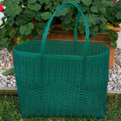 Large Emerald Green Traditional Basket Woven in Guatemala