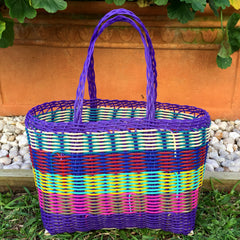 Extra Small Purple and Multicoloured Handwoven Basket Guatemala