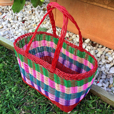 Extra Small Red and Multicoloured Handwoven Basket Guatemala