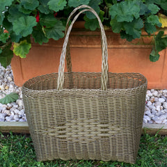 Small Gold Plastic Basket Woven by Guatemalan Artisans