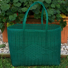Large Dark Green Traditional Basket Woven in Guatemala