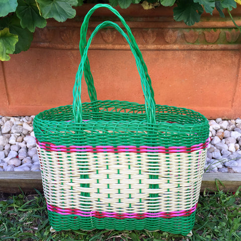 Extra Small Green and Bight Pink Natural Handwoven Basket Guatemala