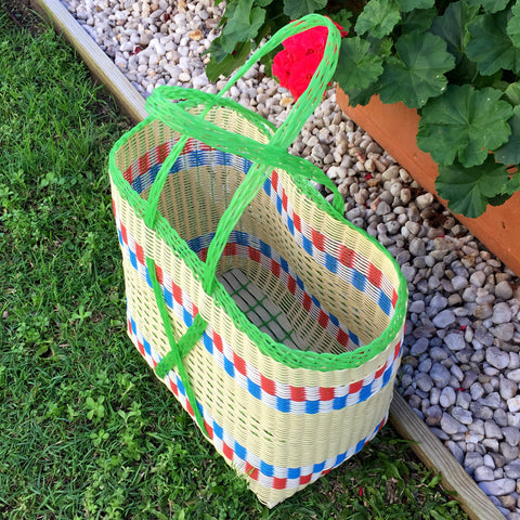 Guatemalan Market Tote Green and Natural XX- Large Woven Basket