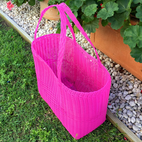 Medium Hot Pink Shopping Basket Handwoven in Guatemala