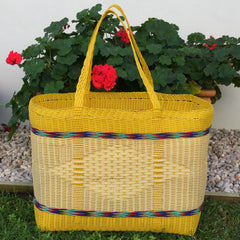 Yellow and Natural Jumbo Market Basket Woven in Guatemala