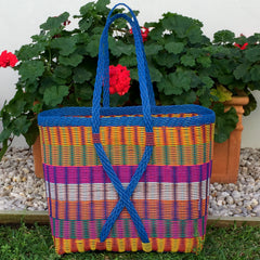 Guatemalan Market Tote Bright Multi and Blue XX- Large Woven Basket
