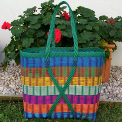 Guatemalan Market Tote Bright Multi Colour and Green XX Large Woven Basket