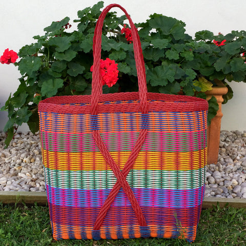 Guatemalan Market Tote Bright Multi Colour and Red XX Large Woven Basket