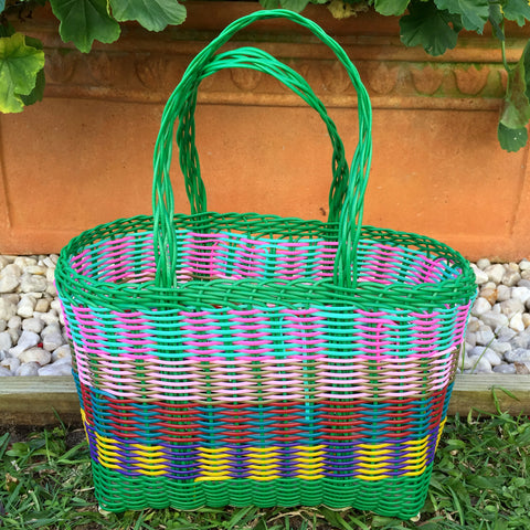 Extra Small Green Multi Handwoven Basket Guatemala