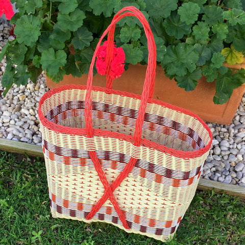 Guatemalan Market Tote Orange and Natural XX- Large Woven Basket