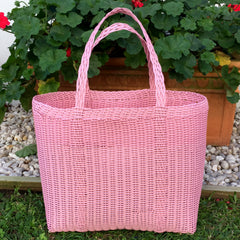 Shopping Basket Handwoven in Guatemala Medium Pastel Pink