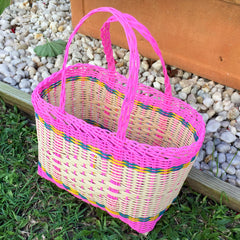 Extra Small Pink and Natural Handwoven Basket Guatemala