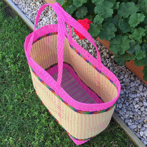 Pink and Natural Jumbo Market Basket Woven in Guatemala